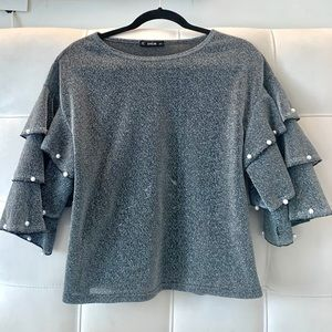 Glittery Silver Blouse with Pearls and Ruffles